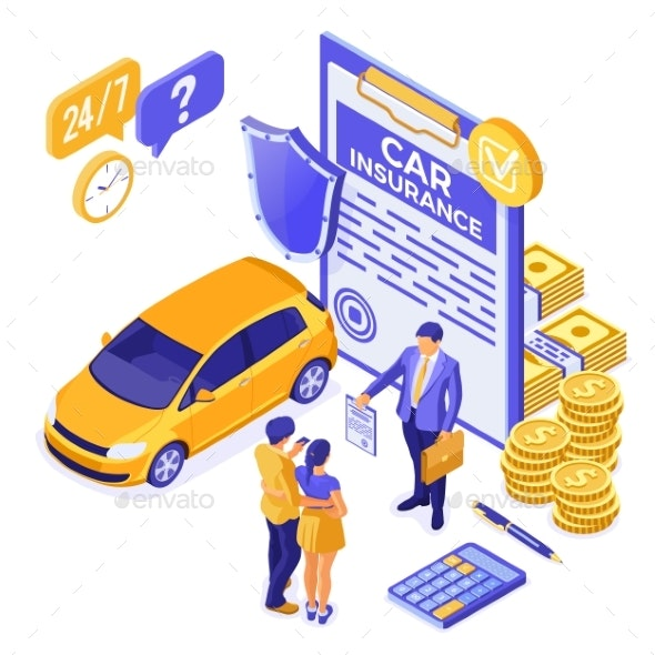 Car Insurance Isometric Concept - Industries Business