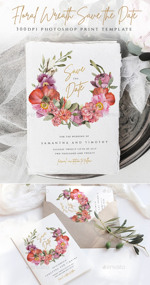 Floral Wreath Save The Date Template - Weddings Cards & Invites