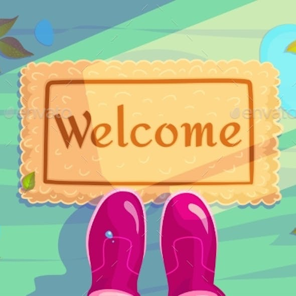 Welcome Doormat with Green Leaves and Rubber Boots