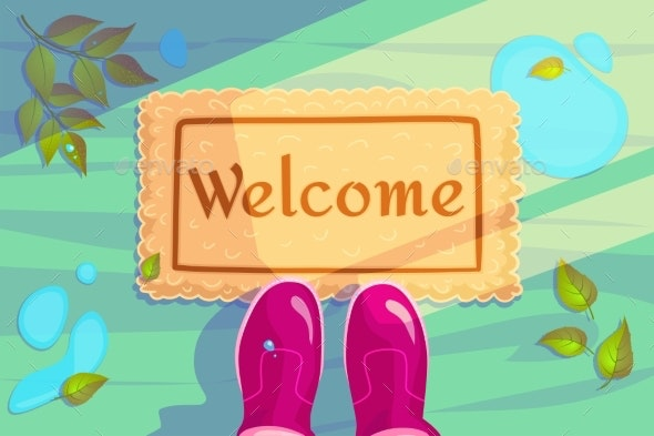 Welcome Doormat with Green Leaves and Rubber Boots - Miscellaneous Vectors