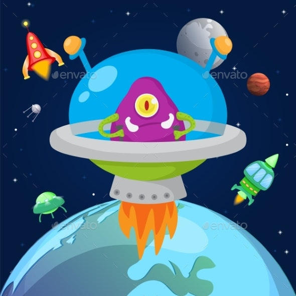 Alien One Eyed Monster Flying in Space - Monsters Characters