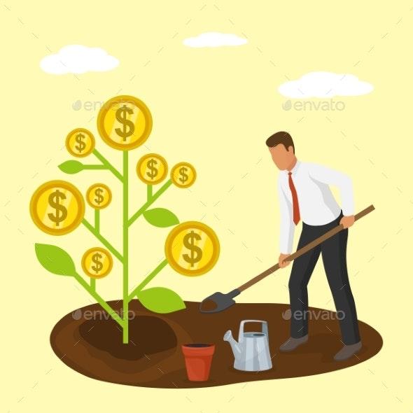 Businessman Plants Golden Dollars Money Tree Coins - Concepts Business