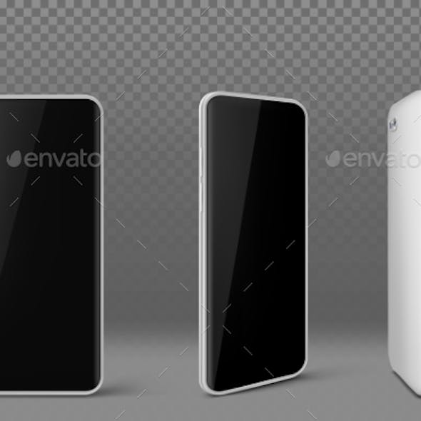 White Mobile Phone with Black Screen