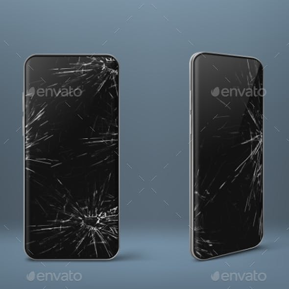 Mobile Phone with Broken Screen Set, Gadget Device