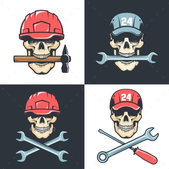 Skull Mechanic Repairman with Tools - Retro Logo - Industries Business