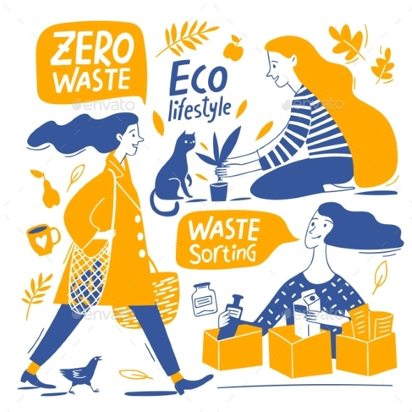 Eco Lifestyle Motivational Vector Design with Zero Waste - Miscellaneous Vectors