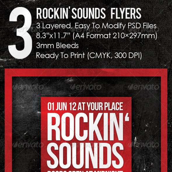 3 Rockin' Sounds Flyers