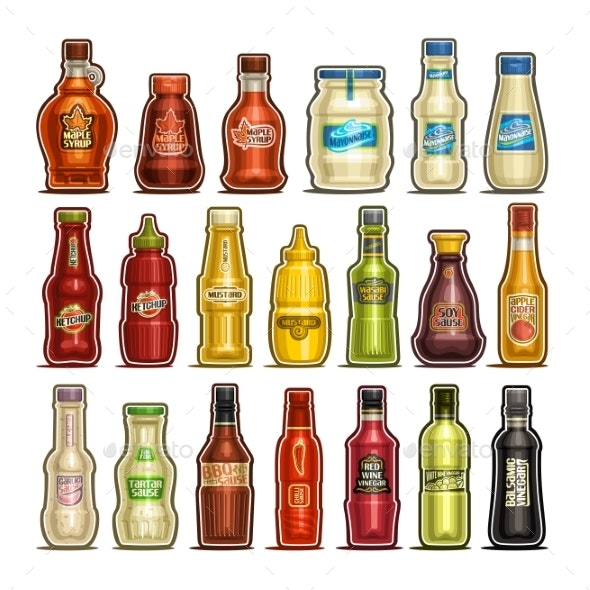 Vector Set of Isolated Bottles - Food Objects