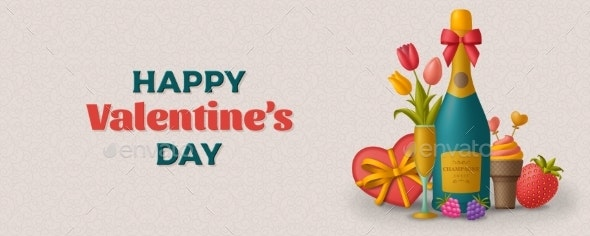 Happy Valentine Day Background with Champagne - Valentines Seasons/Holidays
