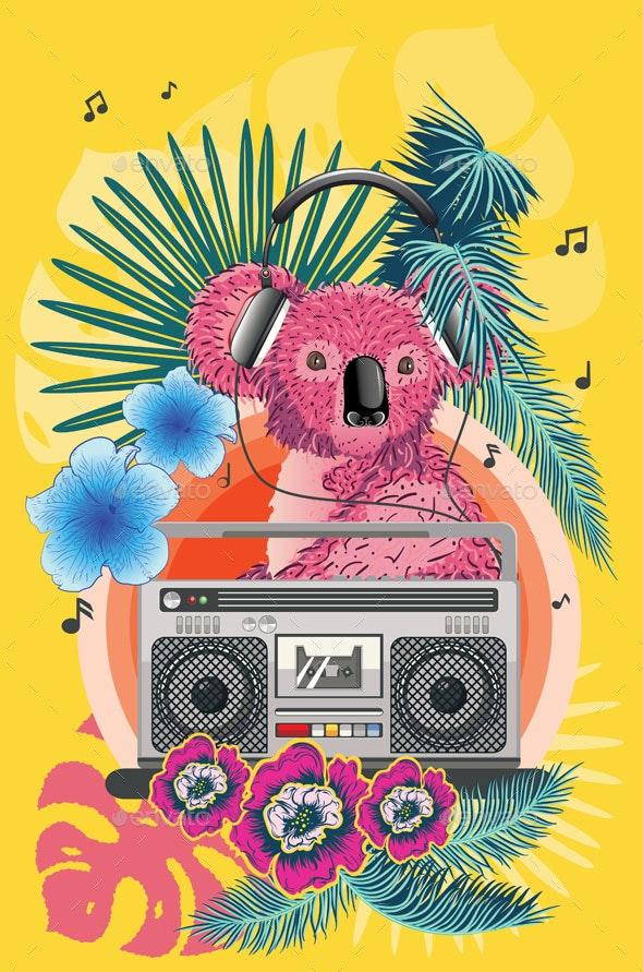 Pink Koala with Boombox - Animals Characters