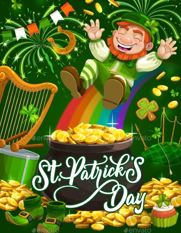 Leprechaun with Rainbow, and Pot of Gold - Miscellaneous Seasons/Holidays