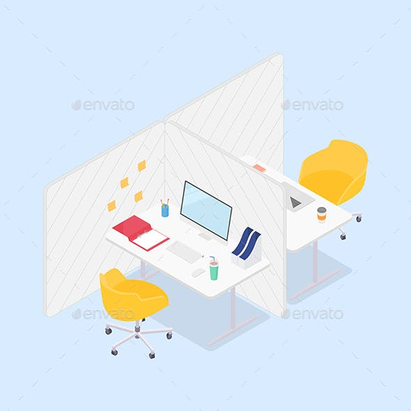 Modern Isometric Office Cubicles