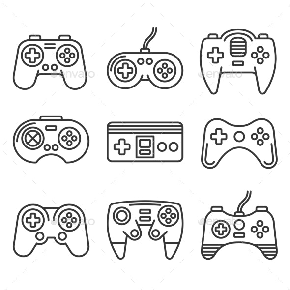 Gamepads Icon Set on White Background - Man-made Objects Objects