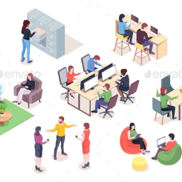 Set of Vector Office Elements with People. Work