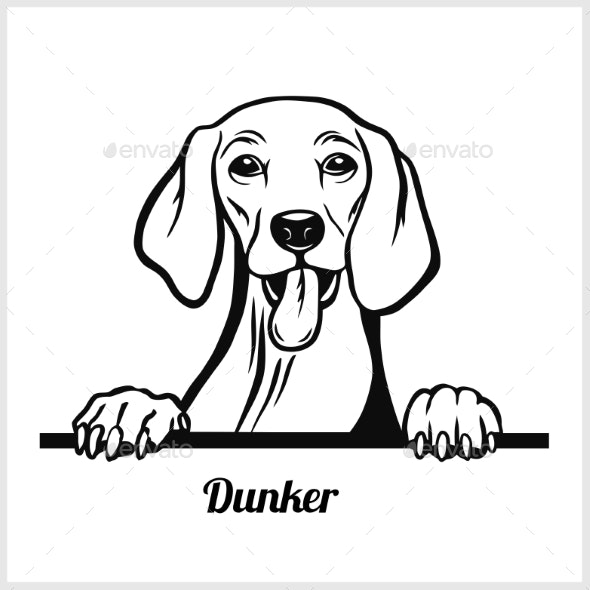 Dog Head Dunker Breed Black and White - Animals Characters