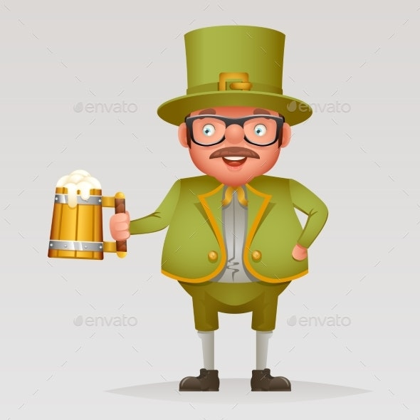 Cartoon Man with Green Beer Saint Patrick Day - People Characters