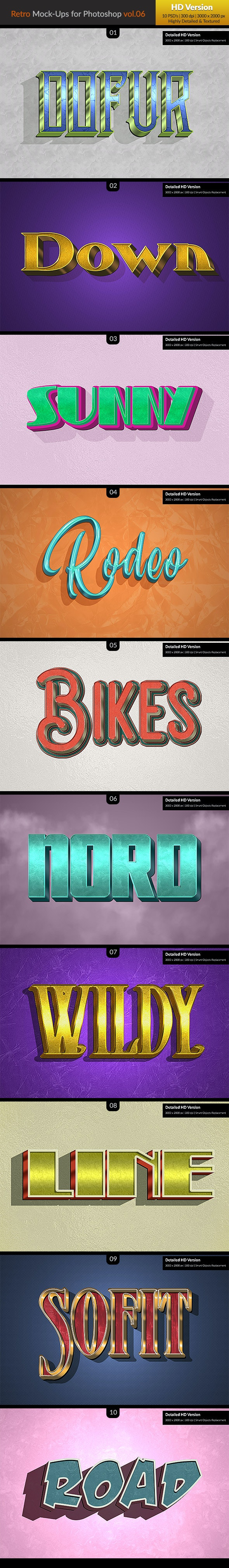 10 Retro Mock-Ups vol. 06 - Text Effects Styles