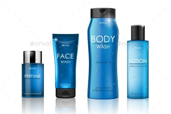 Set of Blue Cosmetic Bottles Packaging Mockup - Man-made Objects Objects