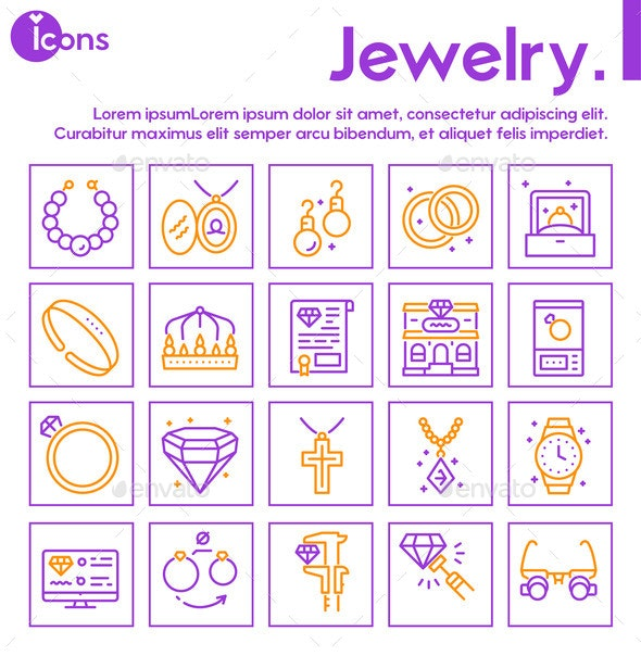 Jewelry Color Linear Vector Icons Set - Miscellaneous Vectors
