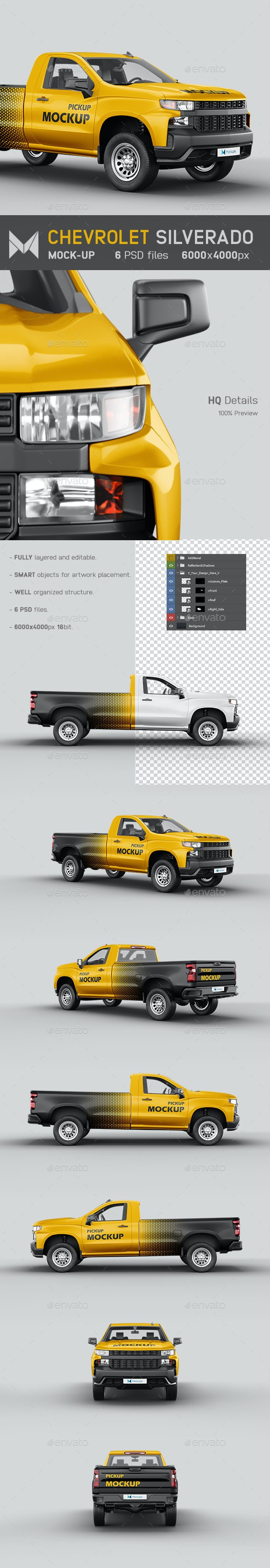 Chevrolet Silverado Pickup Mockup - Vehicle Wraps Print