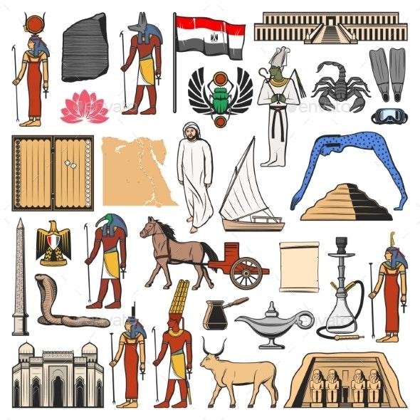 Egypt Culture Symbols - Travel Conceptual