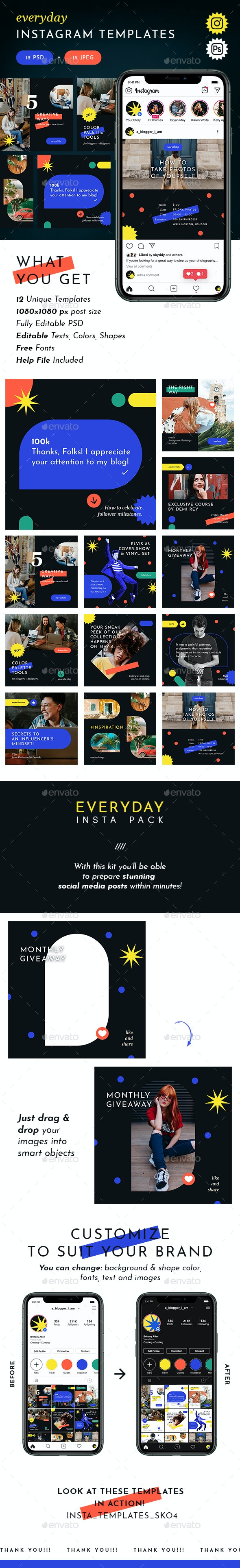 Everyday Instagram Templates - Miscellaneous Social Media