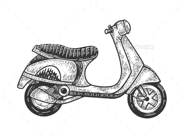 Scooter Sketch Vector Illustration - Man-made Objects Objects
