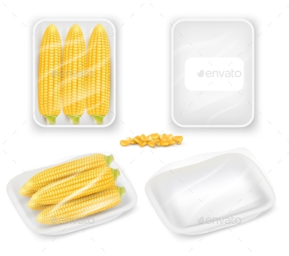 Corn Packaging Tray Mockup Set Vector Realistic - Food Objects