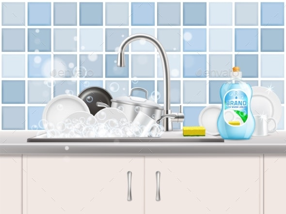 Dishwashing Liquid Advertising Poster Vector - Industries Business