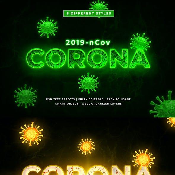 Corona Virus Text Style Effect Mockup