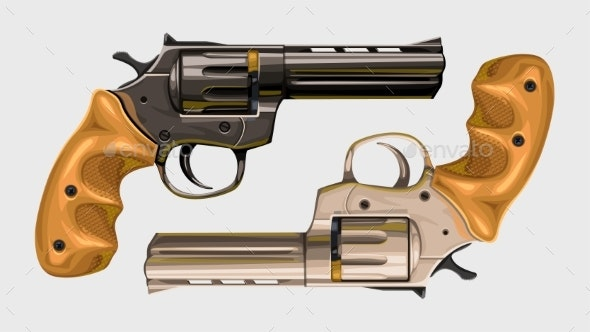 Two Classic Revolvers on White - Man-made Objects Objects