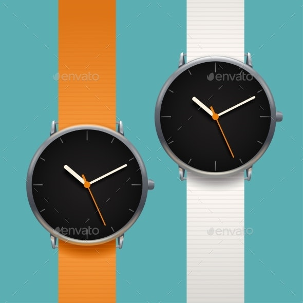Couple Modern Classic Watches on Blue Background - Man-made Objects Objects