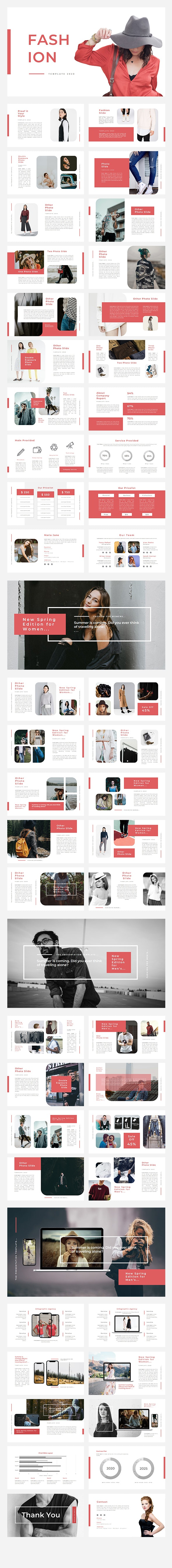 Red Fashion Presentation Template - Business PowerPoint Templates