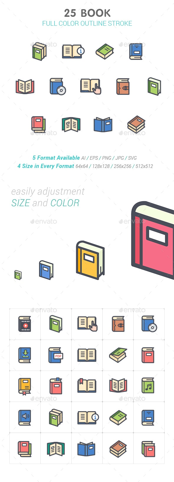 Book Color Icon - Objects Icons
