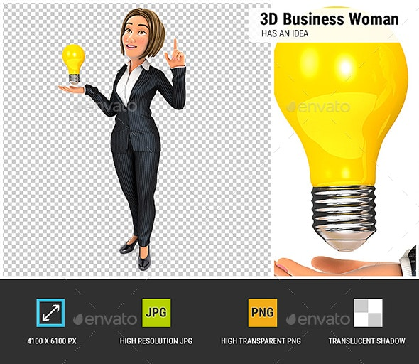 3D Business Woman Has an Idea - Characters 3D Renders