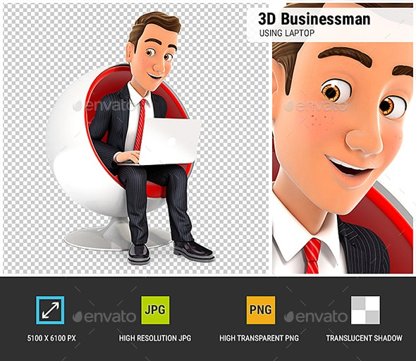 3D Businessman Sitting in Round Chair and Using Laptop - Characters 3D Renders