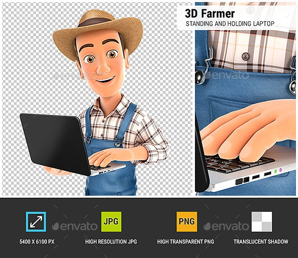 3D Farmer Standing and Holding Laptop - Characters 3D Renders