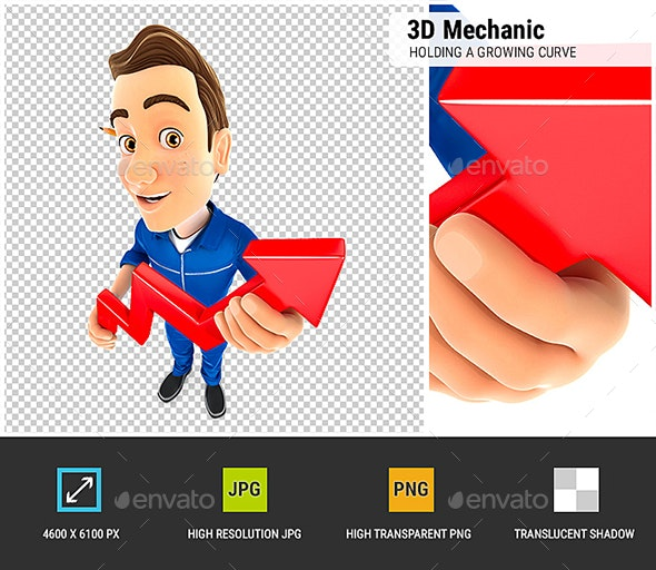 3D Mechanic Holding a Growing Curve - Characters 3D Renders