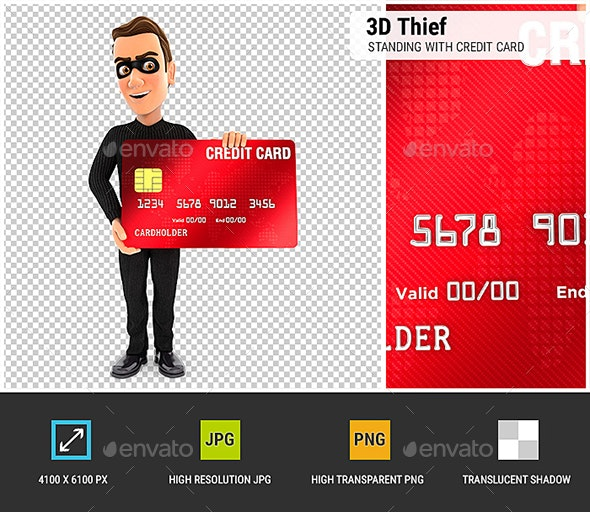 3D Thief Standing with Credit Card - Characters 3D Renders