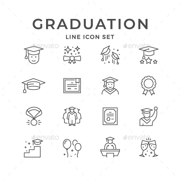 Set Line Icons of Graduation - Man-made objects Objects
