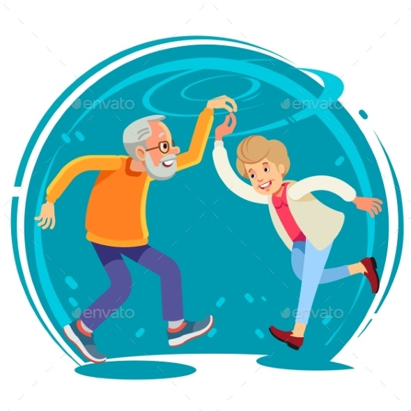 Senior Couple Dancing Together Flat Style Vector - People Characters