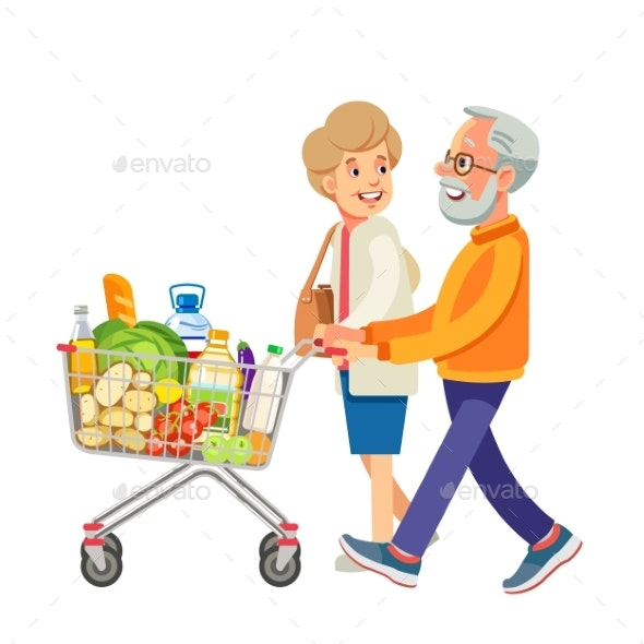 Happy Old People Shopping Retired Couple - People Characters