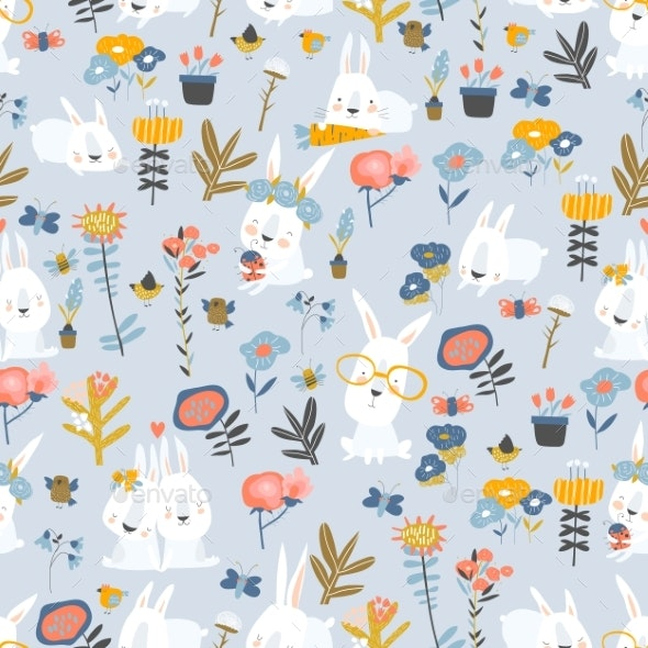 Seamless Pattern of Cartoon Bunnies - Flowers & Plants Nature