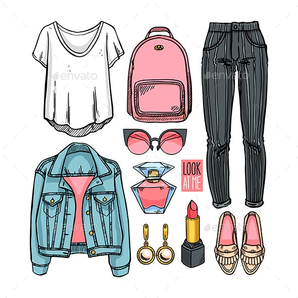 Fashion Collection of Girl Clothing - Man-made Objects Objects