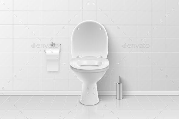 Vector Realistic White Ceramic Toilet, Brush - Man-made Objects Objects