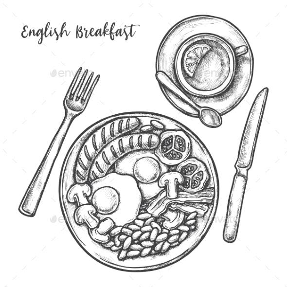 Sketch English Breakfast Menu Eggs, Bacon, Sausage - Food Objects