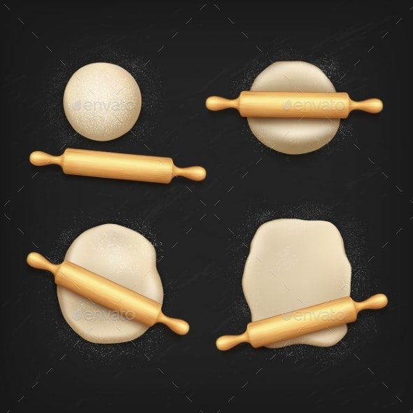 Realistic Dough and Rolling Pin, Bread Kneading - Food Objects