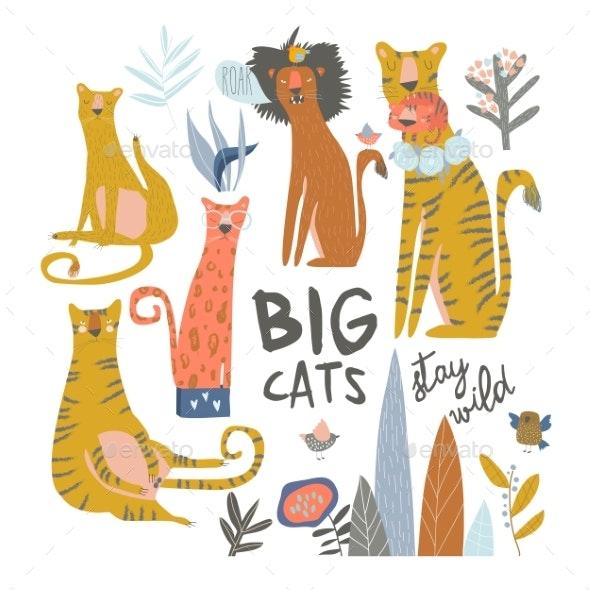 Set of Cartoon Wild Cats - Animals Characters