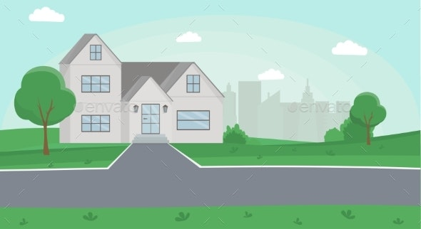 Countryside House Color Vector Illustration - Buildings Objects