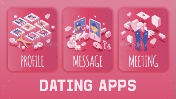 Vector Illustration of Dating Application or - People Characters